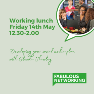Graphic to advertise Working lunch on social media Friday 14th May